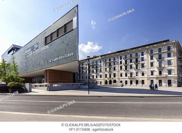 View of the Lugano Arte e Cultura center in downtown Lugano on a spring day, Canton Ticino, Switzerland