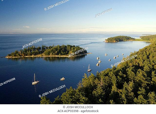 Tumbo & Cabbage Islands from the air, Gulf Islands National Park Reserve, british columbia, canada