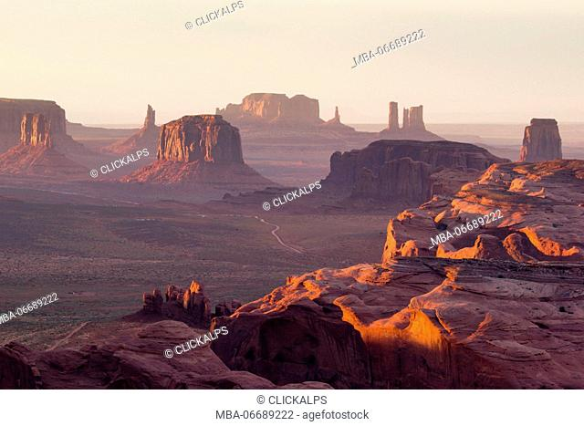 Utah - Ariziona border, panorama of the Monument Valley from a remote point of view, known as The Hunt's Mesa