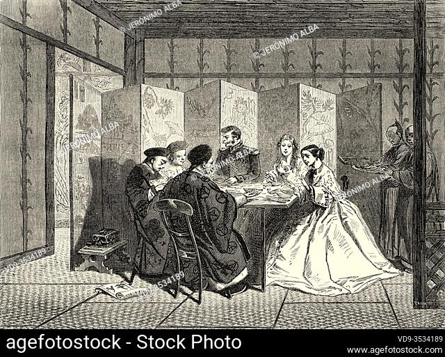 French cellist Lise Cristiani in a Chinese dinner. Old 19th century engraved illustration, Le Tour du Monde 1863