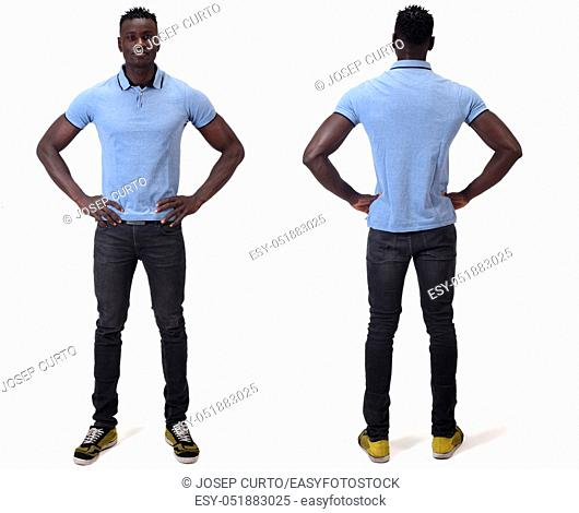 front and back of african man on white