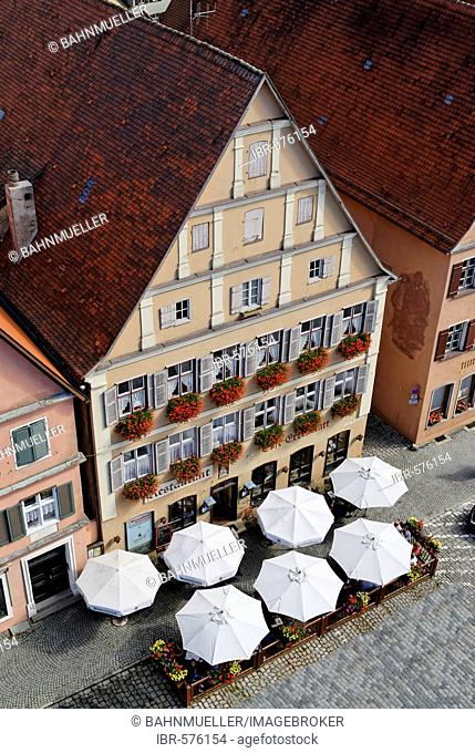 Weinmarkt wine market Romantic Road, Dinkelsbühl, Middle Franconia, Bavaria, Germany