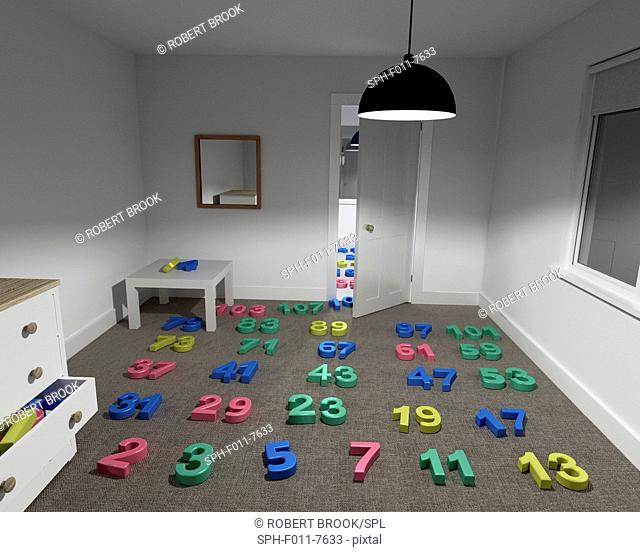 Prime numbers arranged in sequence in a room, but with no end in sight. Euclid was the first to prove that prime numbers are infinite