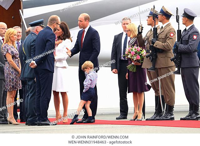 The Duke and Duchess of Cambridge, along with Prince George and Princess Charlotte, arrive at Warsaw Chopin airport to start their tour of Poland and Germany...