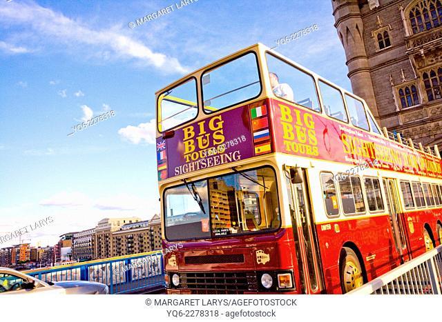 Double decker bus on Tower Bridge, London, UK
