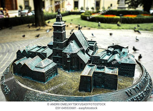 bronze cast miniature attractions and architecture of Krakow in Poland