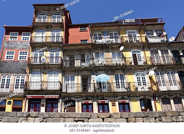 colorful houses along the Douro River in the city of Porto, Portugal