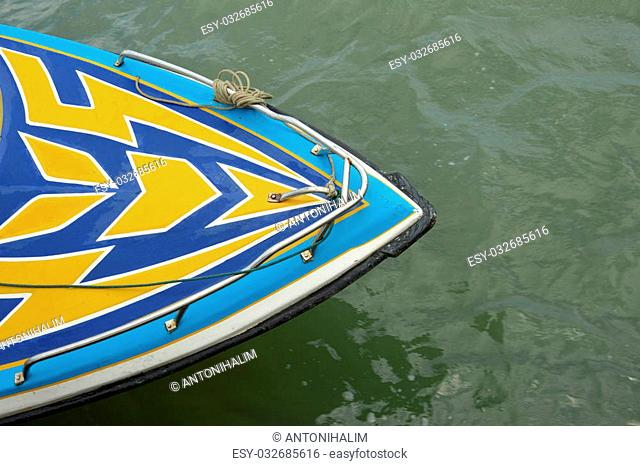 a speedboat at anchor with top view