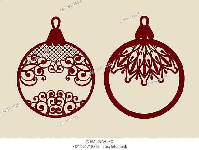 Christmas balls with lace pattern. Template for greeting card, banner, invitation, for New Years design party or interiors