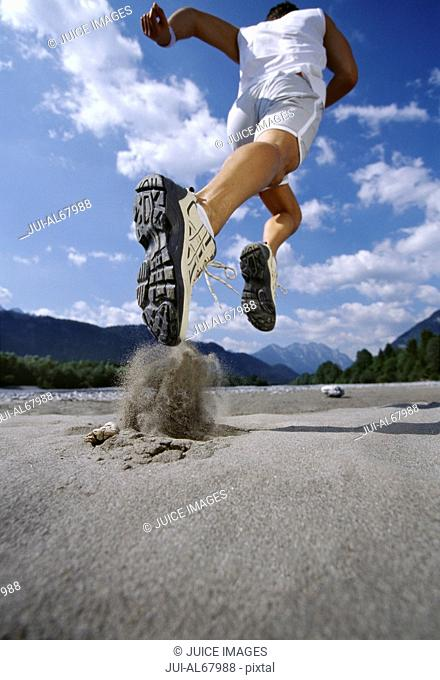 Rearview, man running