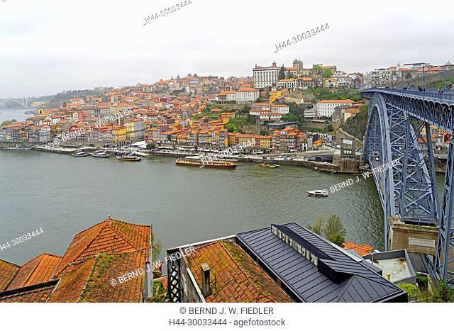 Panorama, Porto, Ponte Dom Luís I, Douro, Hochnebel