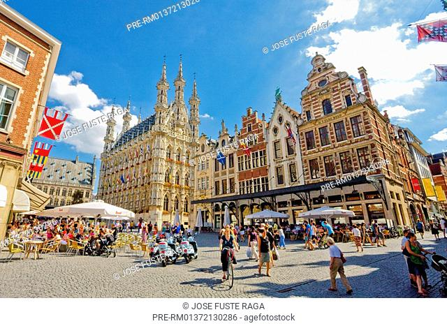 The Town hall at the Great Market, Leuven city, Flemish Brabant, Belgium, Europe