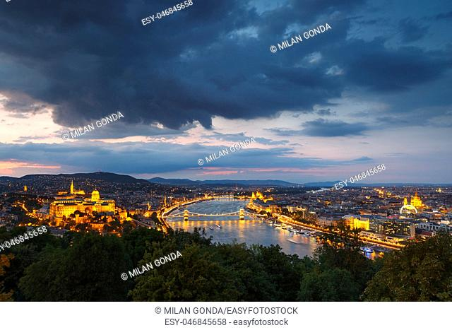 Vew of Buda castle and river Danube from Citadella in Budapest, Hungary.