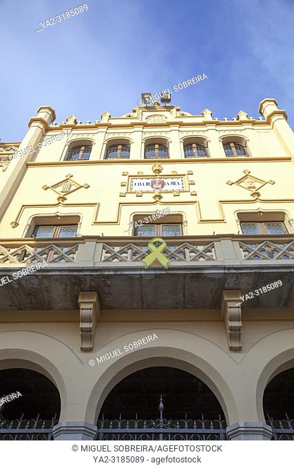 Yellow Ribbon of Catalan Independence on Sitges Town Hall in Spain