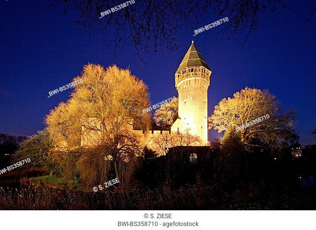 illuminated water castle Burg Linn in the evening, Germany, North Rhine-Westphalia, Lower Rhine, Krefeld