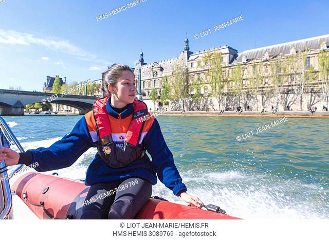 France, Paris, area listed as World Heritage by UNESCO, on the Seine river, exercises of the Civil Security of Paris