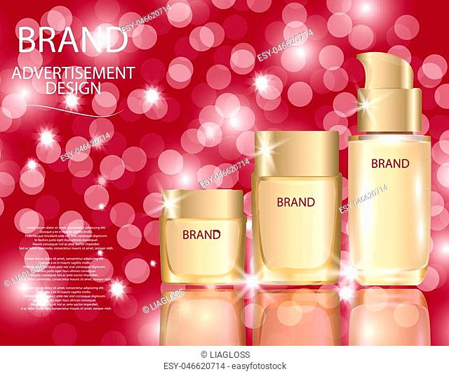 Realistic bottles for foundation cream on sparkling background. Mock-ups of glass containers. Blank template of packaging for cosmetic product