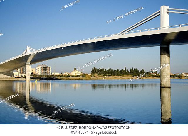 Sant Jaume d'Enveja new bridge 'Lo Passador' over Ebro river Ebro Delta Tarragona Catalonia Spain