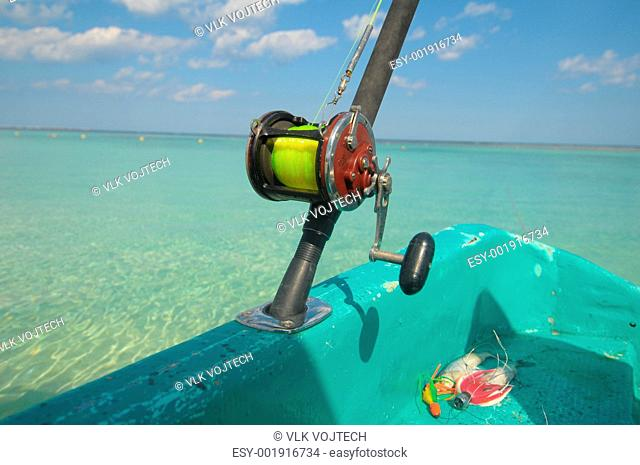 Picture of a reel on fishing boat