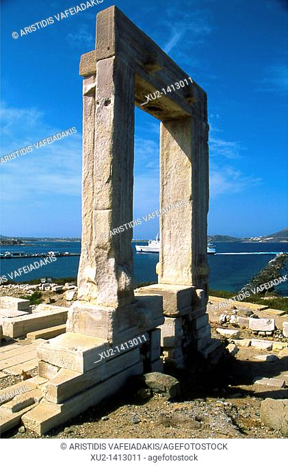 The gate of the temple of Apollo, Portara, at Naxos island Greece