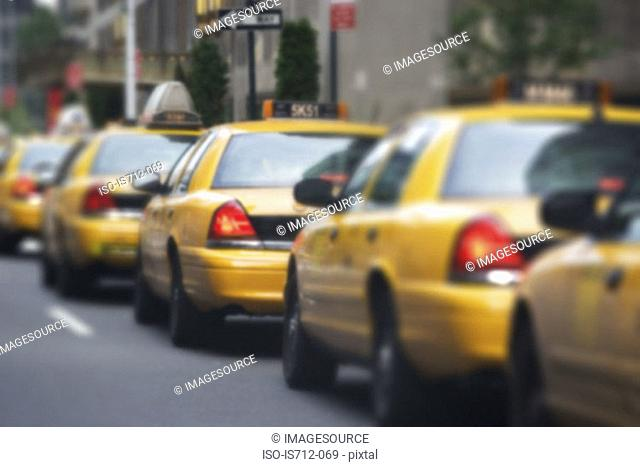 Queue of yellow taxi cabs