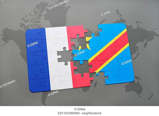 puzzle with the national flag of france and democratic republic of the congo on a world map background. 3D illustration