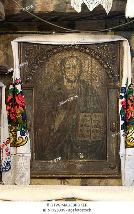 Icon, Wood Church of the Holy Paraskeva, Unesco World Heritage Site, Desesti, Maramures, Romania