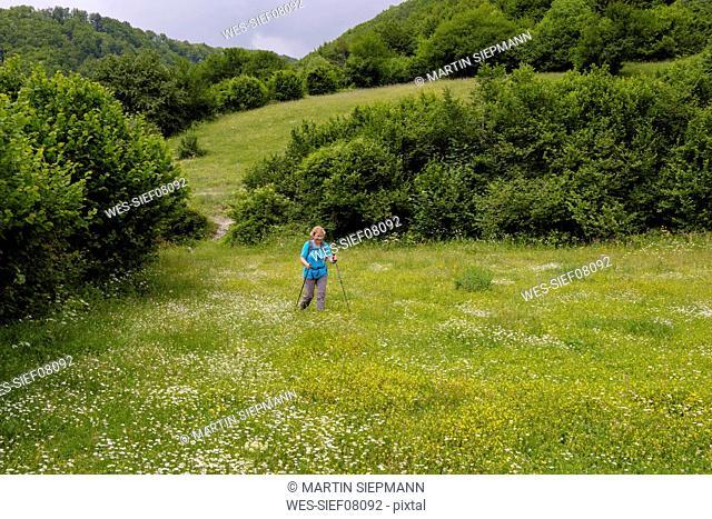 Albania, Shkoder County, Albanian Alps, Theth National Park, female hiker walking over flower meadow
