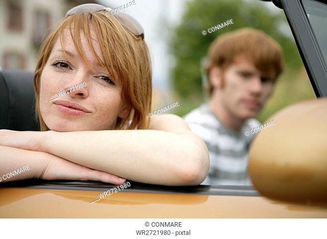 face, woman, portrait, convertible, couple, friend
