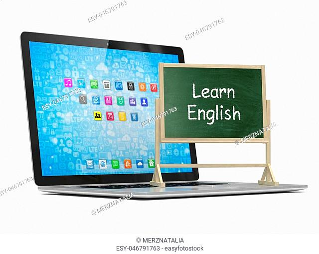 Laptop with chalkboard, learn english, online education concept. 3d rendering