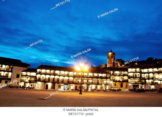 Main Square, night view, Chinchon, Madrid province, Spain