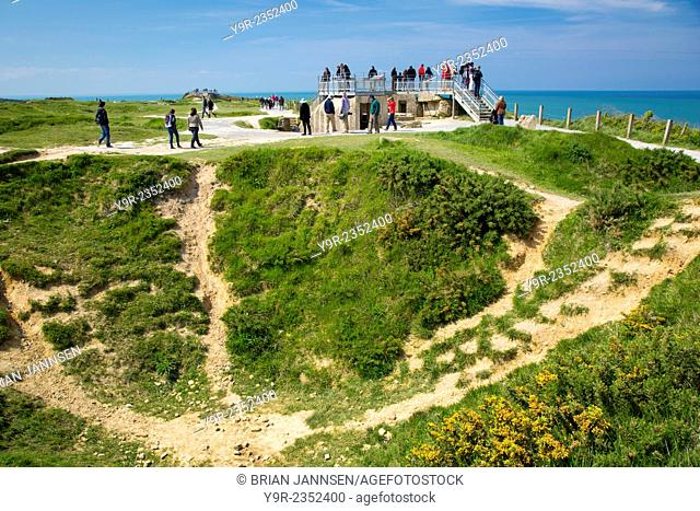 Bombardment crater and German Pillbox new Pointe du Hoc, Omaha Beach, Normandy, France