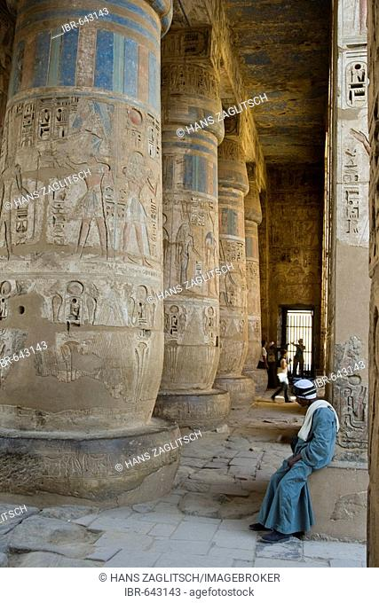 Columns in the colonnade of the second court with hieroglyphs of Ramses III, Medinat Habu or Haboe, West Bank, Luxor, Nile Valley, Egypt, Africa
