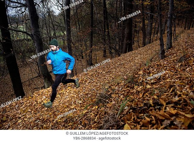 An adult man running in a forest trail in Jelenia Gora, Poland