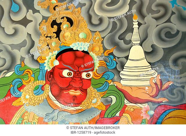 Tibetan Buddhism, wall painting, red demon holding stupa in his hand, evil eye, Xiawaer temple, Heiwa Dao, on an island in the Lugu Hu Lake, Yunnan Province