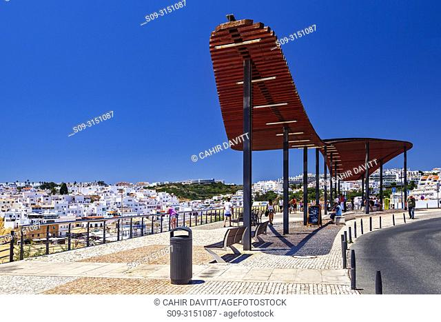 Architectural shading canopy at Miraduro do Pau da Bandeira viewpoint overlooking Albufeira town, Albufeira, Faro, Portugal
