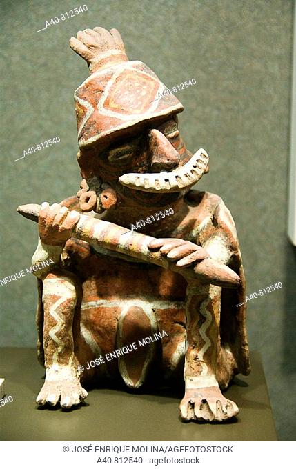 Mexico.Mexico city.National Museum of Antropology.Jalisco culture.Figure of a warrior in ceramica