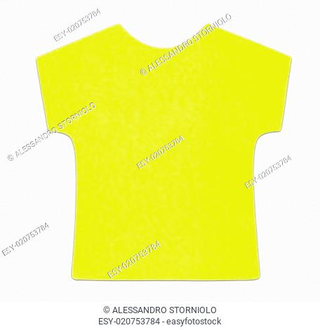 Flat yellow T-shirt sticky note, isolated on white background, with shadow