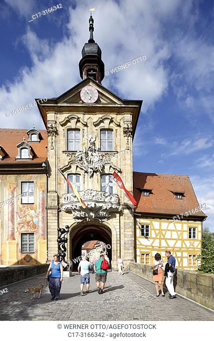 Bamberg, D-Bamberg, Regnitz, Main-Danube Canal, Upper Franconia, Franconia, Bavaria, old city hall at the Regnitz, baroque, rococo, Regnitz Bridge