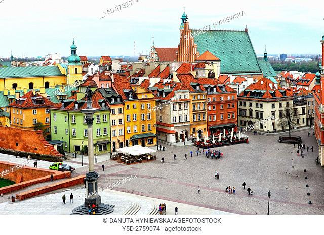 Castle square, in background St John's Archcathedral, Old Town of Warsaw, UNESCO World Heritage, Warsaw, Poland, Europe