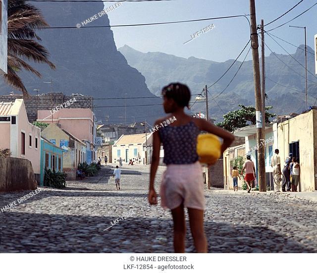 Local girl walking through a village, Ponta do Sol, Santo Antao, Cape Verde Islands