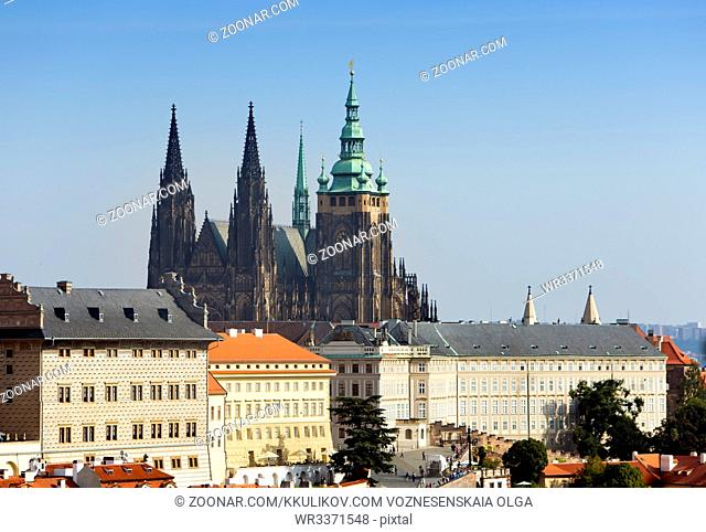 Prague. View of the old city and Saint Vitus cathedral
