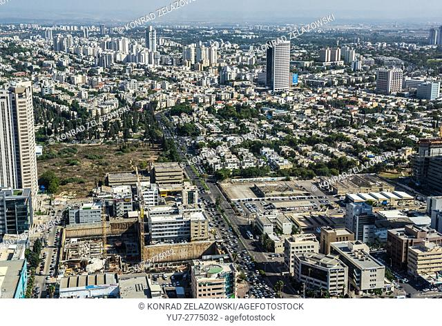Tel Aviv and Ramat Gan cities in Israel. Aerial view from observation deck in Azrieli Center Circular Tower with Derech HaShalom Street and