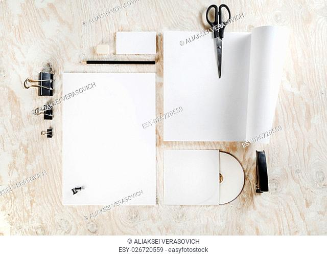 Blank stationery set on wooden table background. Blank ID template. Mockup for branding identity for designers. Mock-up for your design