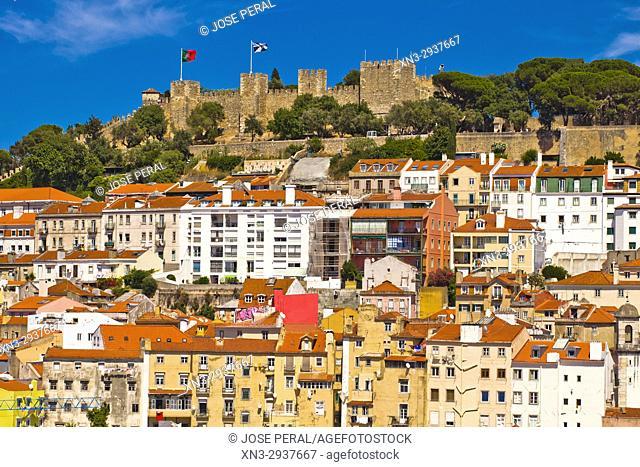 View of Lisbon Castle from Santa Justa Lift or Carmo Lift, Elevador de Santa Justa, Baixa, Lisbon, Portugal, Europe