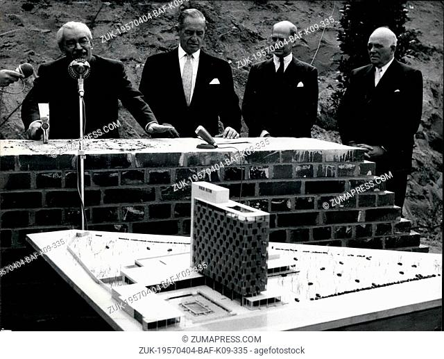 Apr. 04, 1957 - Foundation stone laid for Hilton Hotel in Berlin. Photo shows from l.t.r. : Dr. Haas, Mr. Dowling (deputy of Mr. Hilton), Mr