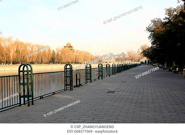 BEIJING - DECEMBER 22: The Southwest turrets and handrail of the Forbidden City, on december 22, 2013, beijing, china