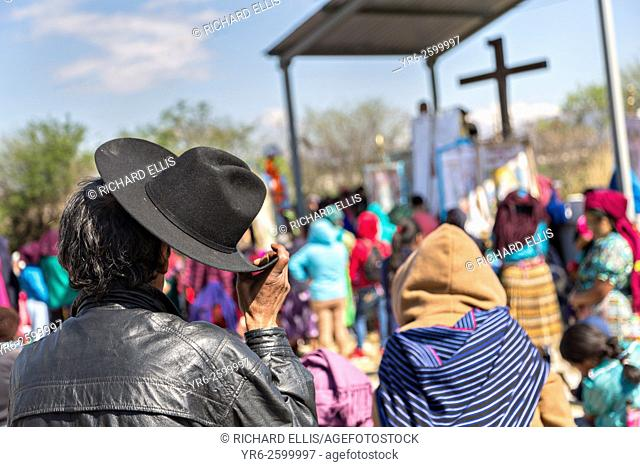 Indigenous pilgrims listen to an outdoor mass on the pilgrimage route to the Sanctuary of Atotonilco an important Catholic shrine in Atotonilco, Mexico