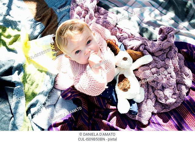Overhead portrait of baby girl looking up from blanket in garden