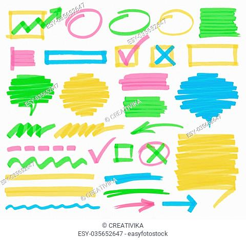 Highlighter marker design elements. Set of highlighter marks, stripes, strokes, shaded speech bubbles and arrows. Optimized for one click color changes